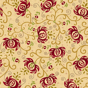 "Spiced Pomegranate in Red/Cream - 108"" Wide Backing - 6631-84"