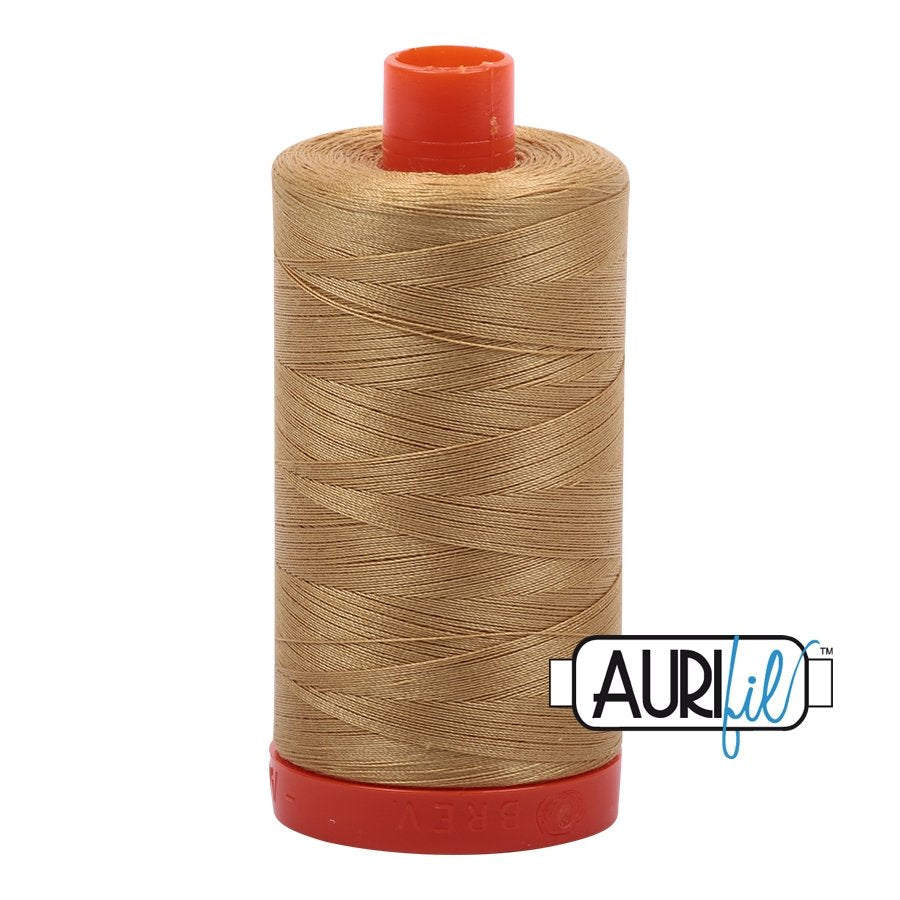 Aurifil 50 wt cotton thread, 1300m, Light Brass (2920)