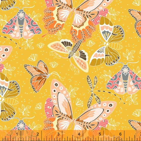 Aerial Quilt Fabric - Flock (Moths and Butterflies) in Yellow - 52179-3