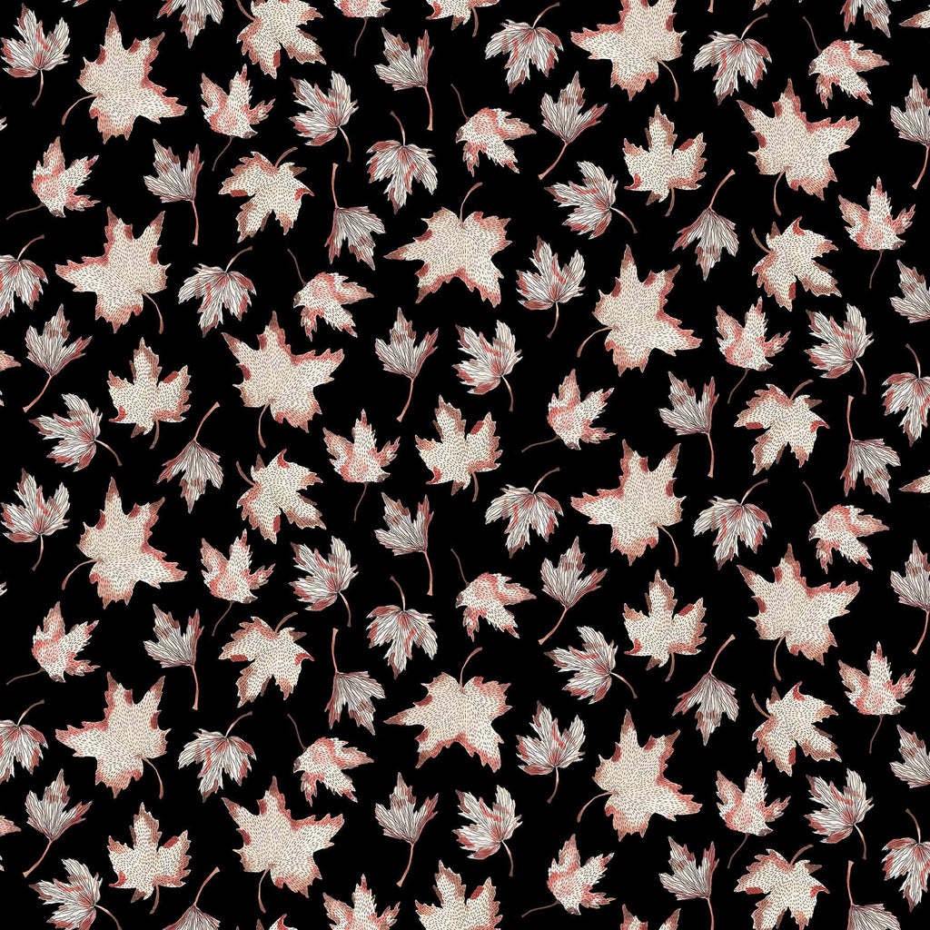 After the Rain Quilt Fabric - Maple Leaves on Black - 90162 99