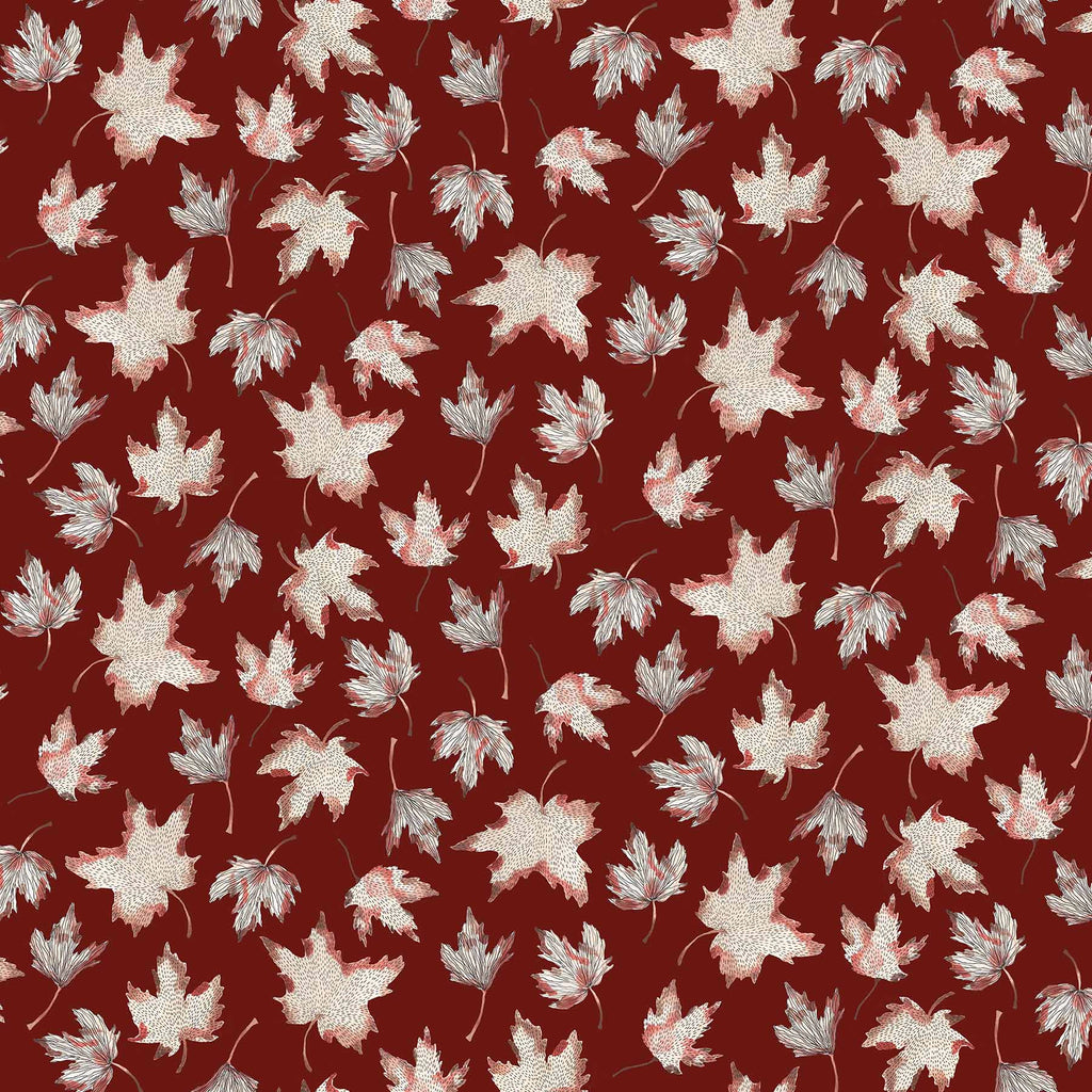 After the Rain Quilt Fabric - Maple Leaves on Mulberry Brown - 90162 29