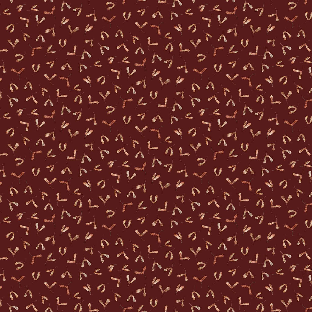 After the Rain Quilt Fabric - Maple Seeds on Mulberry Brown - 90164 29