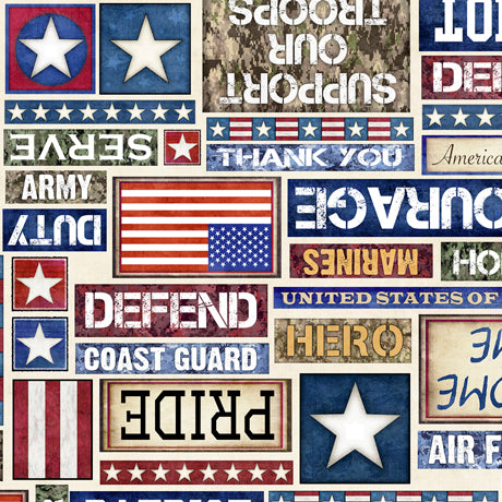 All American Quilt Fabric - Patriot Text in Cream - 1649-27617-E