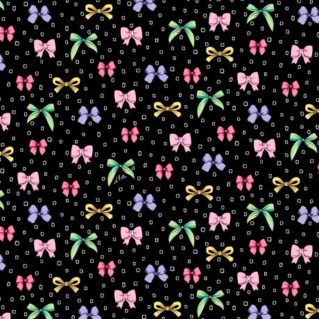 Amour de Fleur Quilt Fabric - Bows in Black - 1649-27055-J