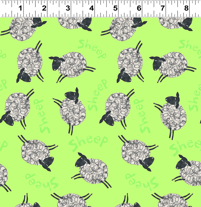 Animal Magic Quilt Fabric - Sheep in Lime Green - Y2893-18