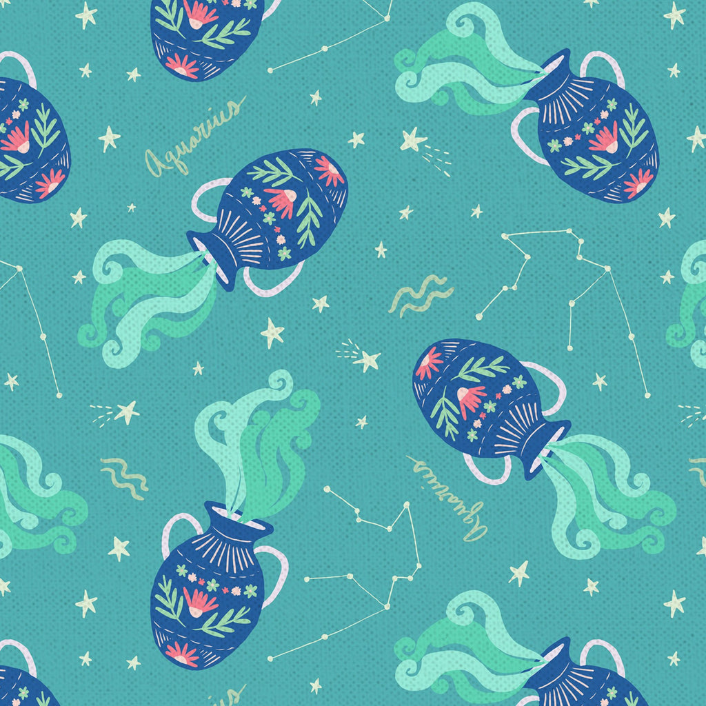 Astrology Quilt Fabric - Aquarius in Jade Green - PSF120-21282