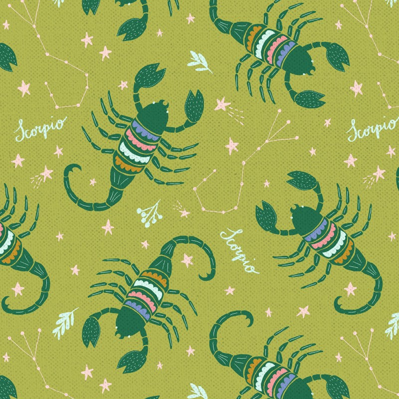 Astrology Quilt Fabric - Scorpio in Lime Green - PSF120-21301