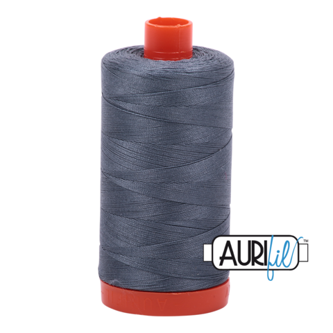 Aurifil 50 wt cotton thread, 1300m, Medium Dark Grey (1246)