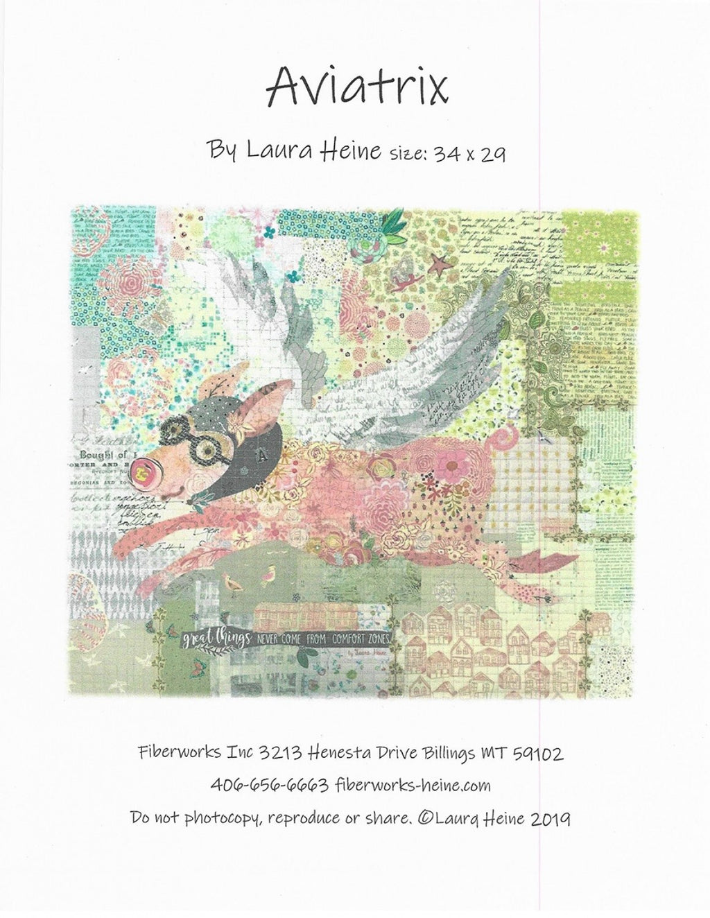 Aviatrix (Flying Pig) Collage Quilt Pattern by Laura Heine - LHFWAVIATRIX