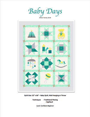 Digital Download: Baby Days Quilt Pattern by Rosi Hanley