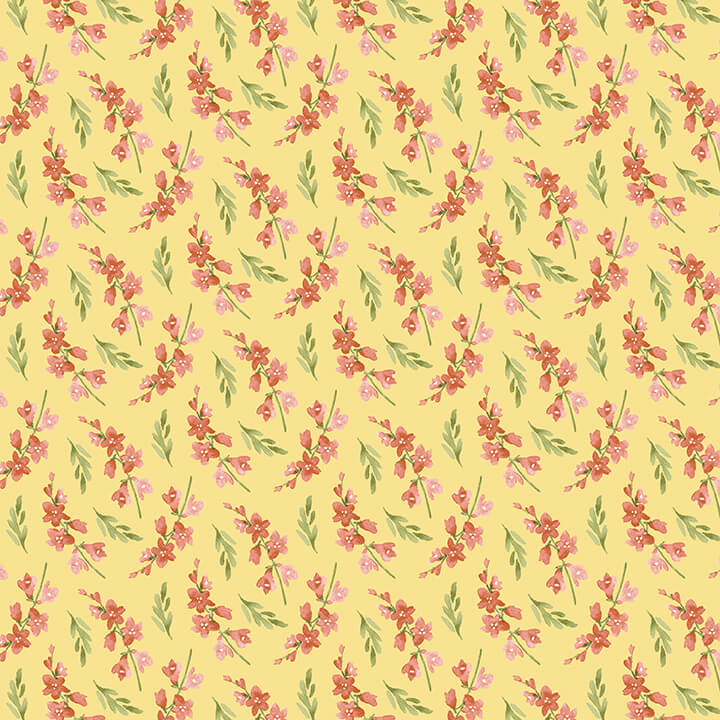 Blessings Quilt Fabric - Flower Sprigs in Yellow - 9006-48
