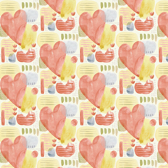 Blessings Quilt Fabric - Hearts in Multi - 9004-18