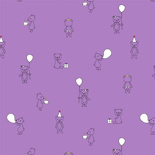 Celebrate Quilt Fabric - Bear Cubs in Lavender Purple - DH8819-LAVE-D