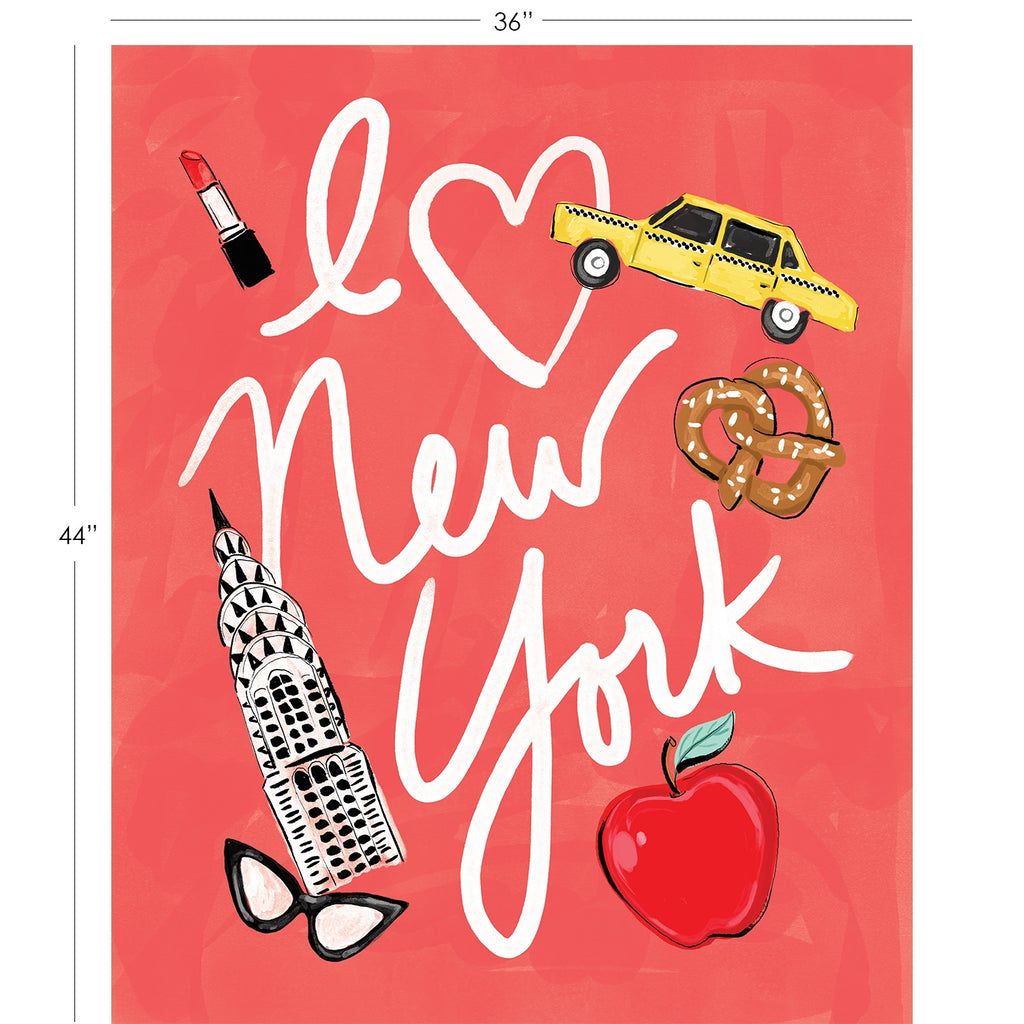 "City Girl Quilt Panel - I Love NYC Panel in Red - 26180107JP 01 - SOLD AS A 36"" PANEL"