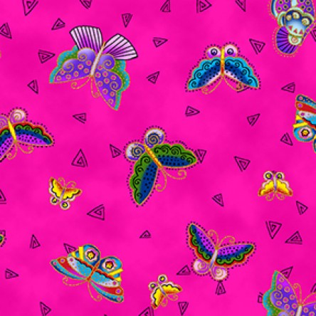 Clothworks Novelty Quilt Fabric - Feline Frolic - Butterflies in Fuchsia Pink - Y2800-77M