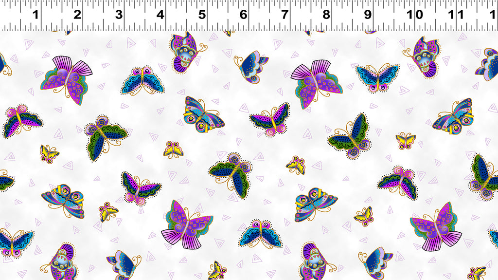 Clothworks Novelty Quilt Fabric - Feline Frolic - Butterflies in White - Y2800-1M