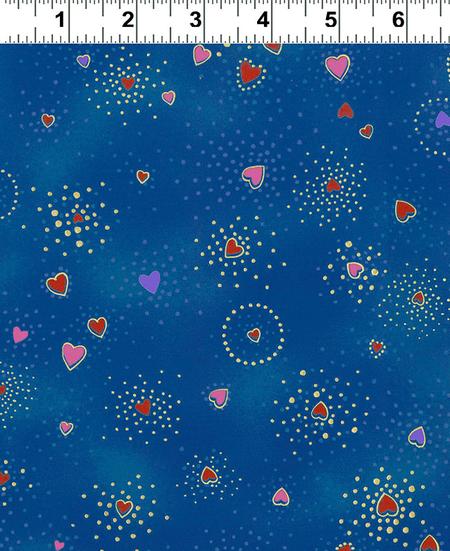 Clothworks Novelty Quilt Fabric - Laurel Burch Basics - Hearts in Royal Blue - Y1124-31M