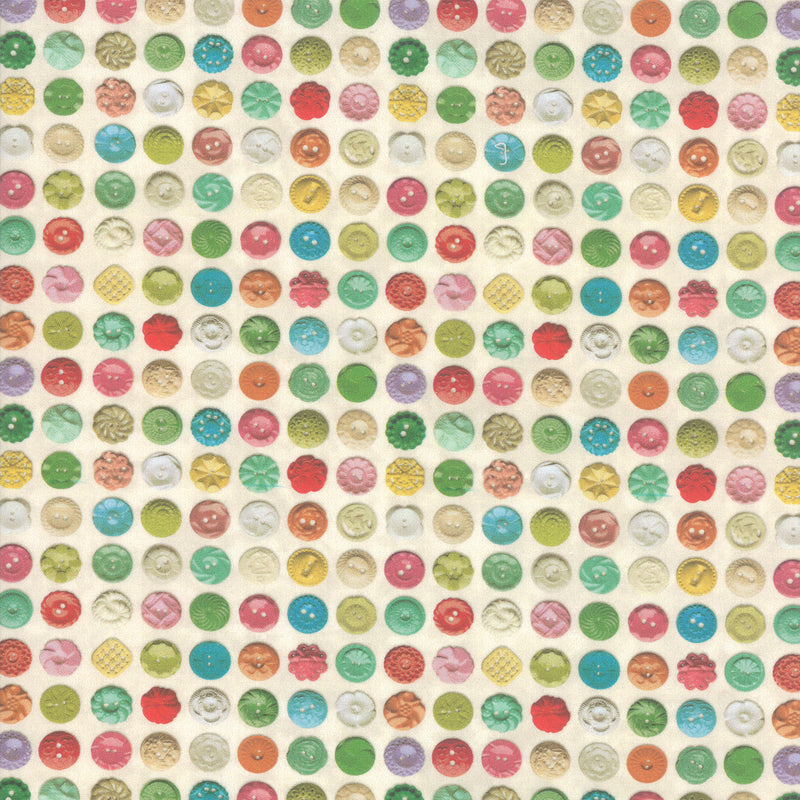 Flea Market Mix Quilt Fabric - Bakelite Buttons in Parchment Multi - 7356 11D