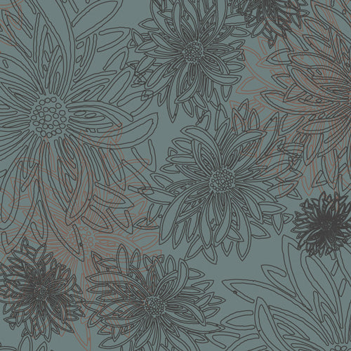 Floral Elements Quilt Fabric - Stormy Sea Blue/Gray - FE-507