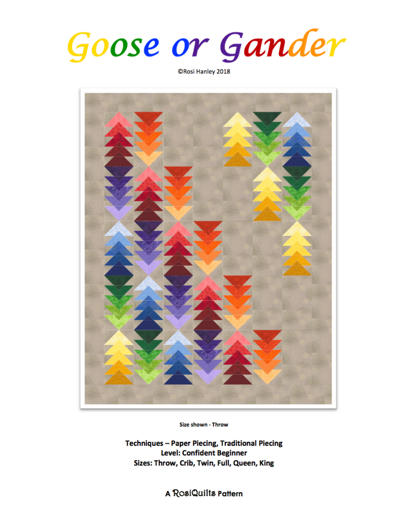 Digital Download: Goose or Gander Quilt Pattern by Rosi Hanley
