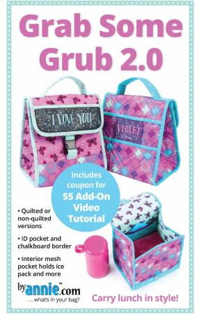 Grab Some Grub 2.0 Lunch Bag Pattern - PBA 2352