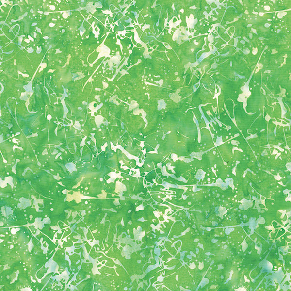 Hoffman Batik Batik Quilt Fabric - Paint Splatter in Kelly Green - 2174-354