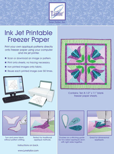 Ink Jet Printable Freezer Paper by June Tailor - Ten 8.5 x 11 pages - JT 408