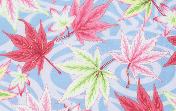 Kaffe Fassett Collective Quilt Fabric - Maple Stream in Ice Blue - PWPJ080.ICEXX