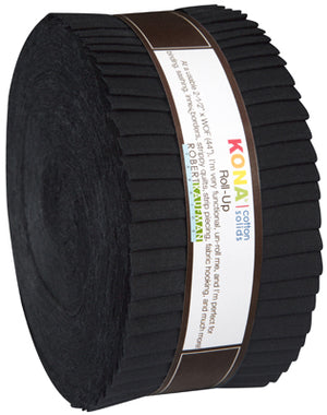 "Kona Cotton Solid Fabric - Roll Ups in Black - 40 2 1/2"" Strips - RU-196-40"