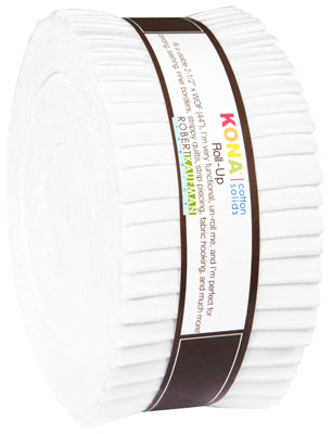 "Kona Cotton Solid Fabric - Roll Ups in White - 40 2 1/2"" Strips - RU-190-40"