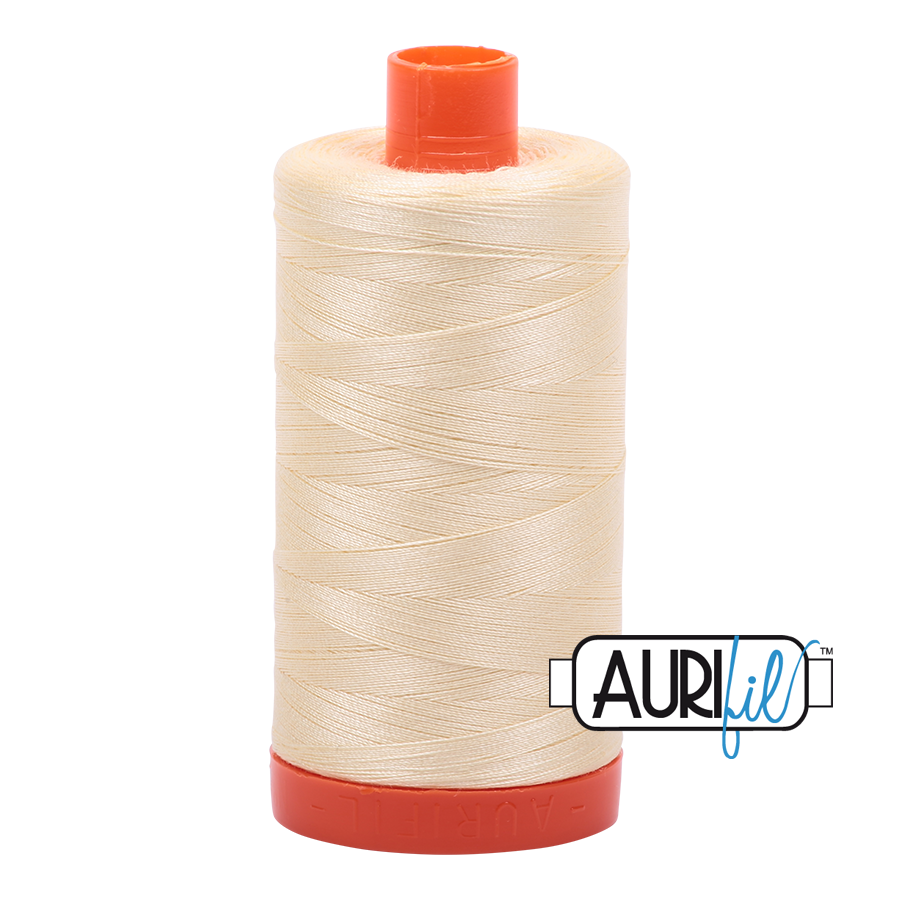 Aurifil 50 wt cotton thread, 1300m, Light Lemon (2110)
