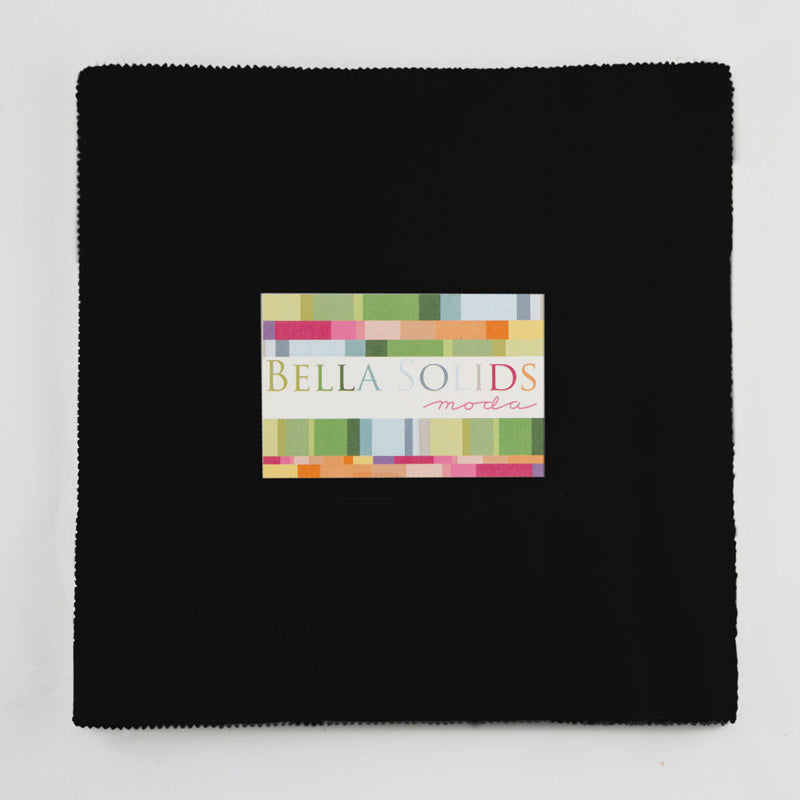 "Moda Bella Solids Quilt Fabric - Black Junior Layer Cake - 20 10"" squares - 9900JLC 99"