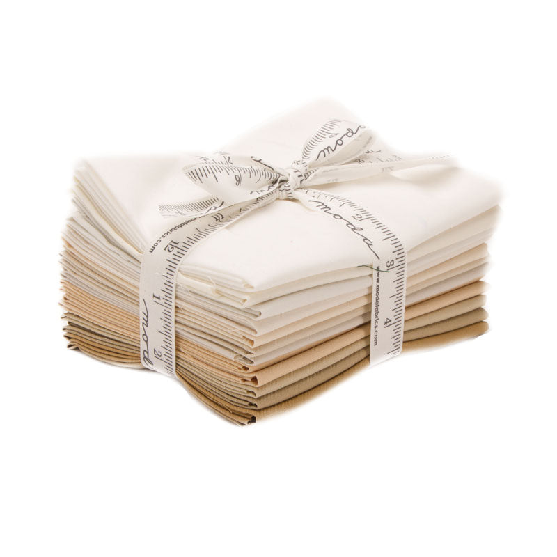 Moda Bella Solids Quilt Fabric - Lights (Cream/Tan) Fat Quarter Bundle - 9900AB 131