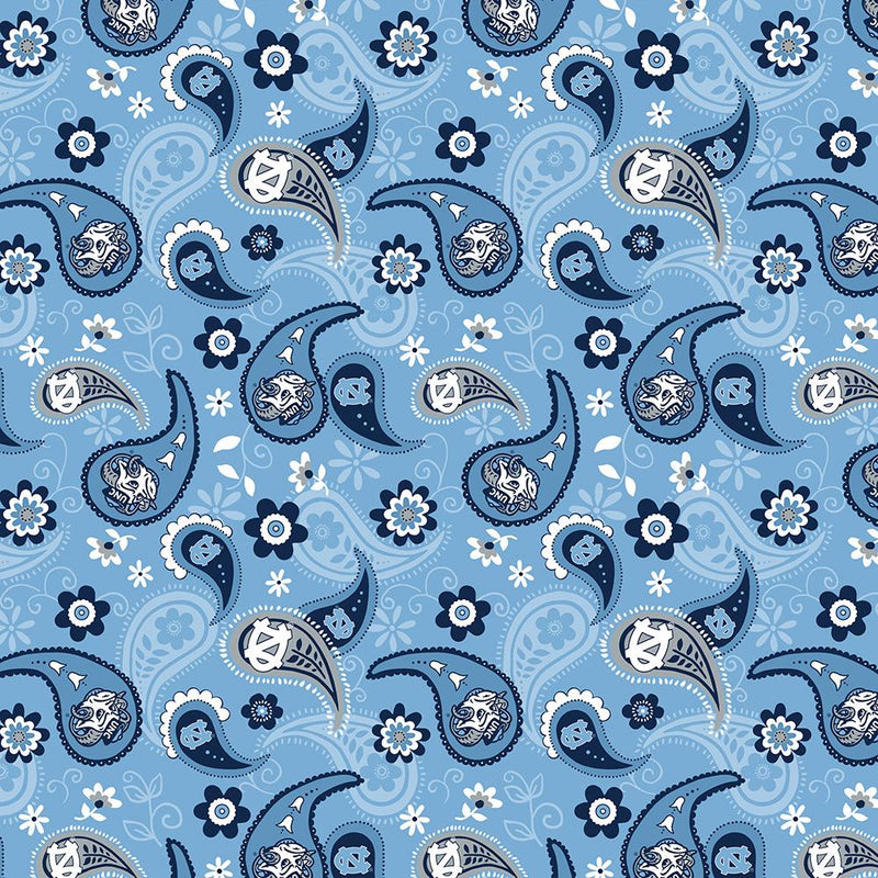 College Prints Quilting Fabric - University of North Carolina (UNC) Paisley in Blue - NC-1200