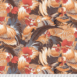 Neddy's Meadow Quilt Fabric - Roosters in Natural - PWSL080.NATURAL
