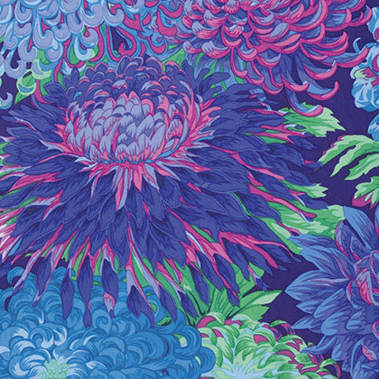 Kaffe Fassett (Philip Jacobs Classics) - Japanese Chrysanthemum in Blue - PWPJ041.BLUEX