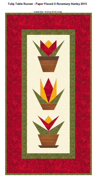 Paper Pieced Tulip Table Runner Pattern