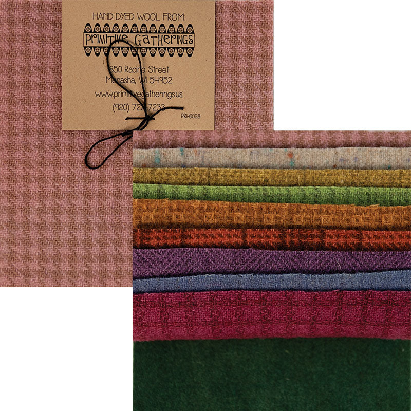 "Primitive Gatherings Wool Charm Pack - Pastel Textures - PRI 6028 - Set of Ten 5"" Squares"