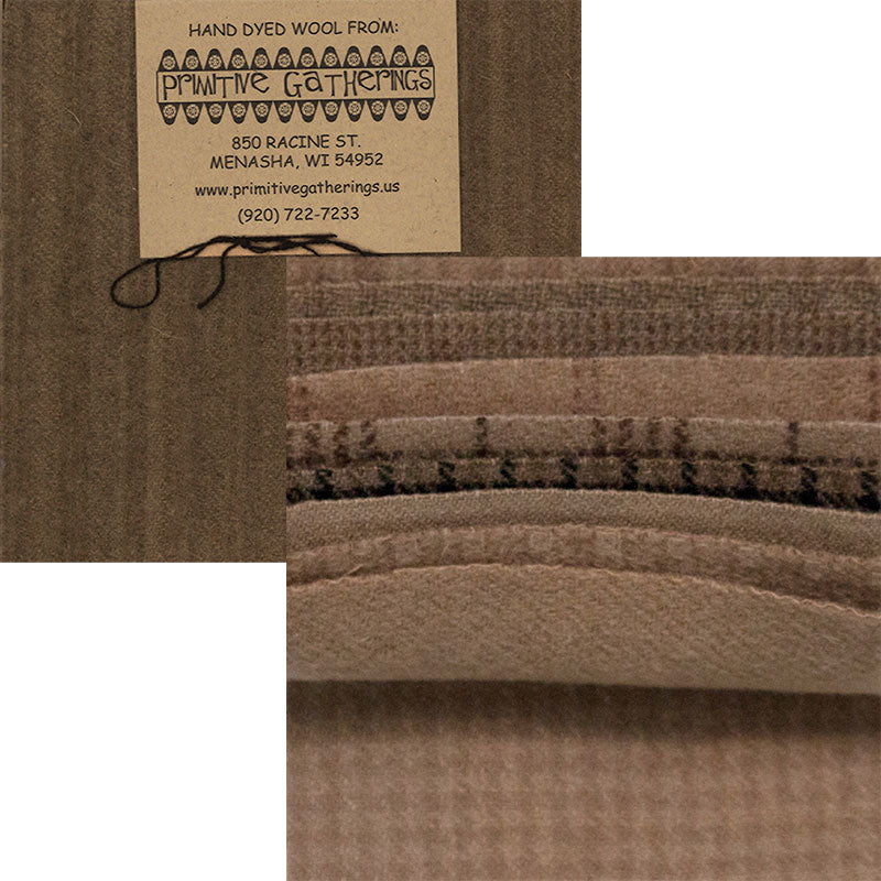 "Primitive Gatherings Wool Charm Pack - Taupe Browns - PRI 6019 - Set of Ten 5"" Squares"