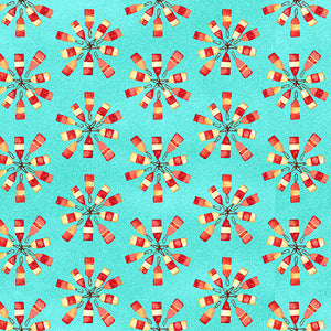 Salty Dogs Quilt Fabric - Buoys in Aqua - 4705-76