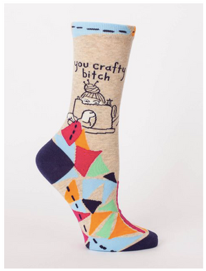 You Crafty B---- Blue Q Crew Socks - SW486