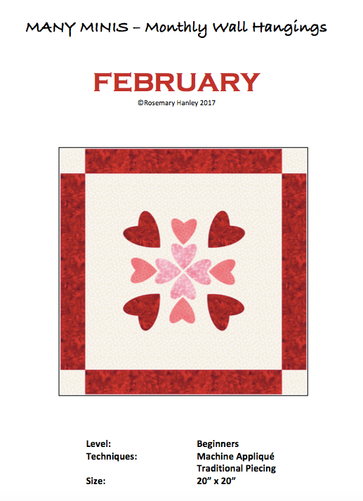 Digital Download: Many Minis Monthly Wall Hanging - Beginner February - DRH-BFEB