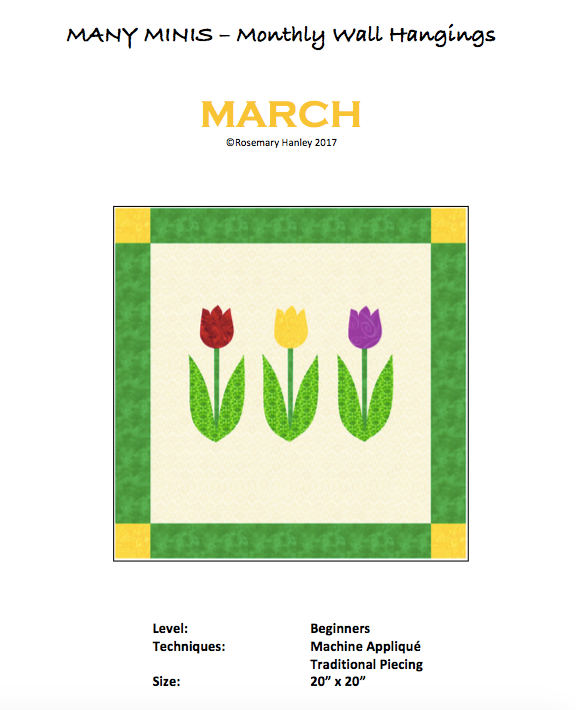 Many Minis Monthly Wall Hanging - Beginner March - RH-BMAR
