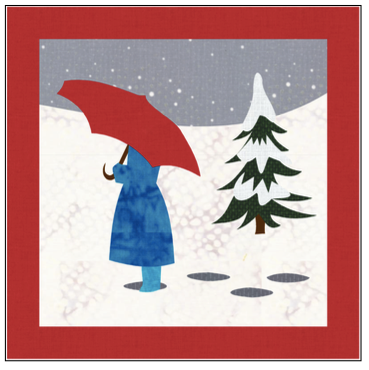 Digital Download: The Girl with the Red Umbrella Monthly Wall Hanging - January - DRH-UJAN