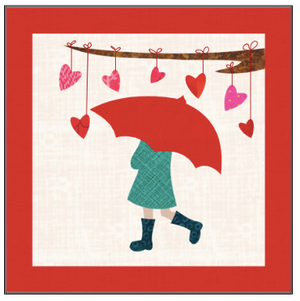 Digital Download: The Girl with the Red Umbrella Monthly Wall Hanging - February - DRH-UFEB