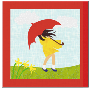 Digital Download: The Girl with the Red Umbrella Monthly Wall Hanging - March - DRH-UMAR