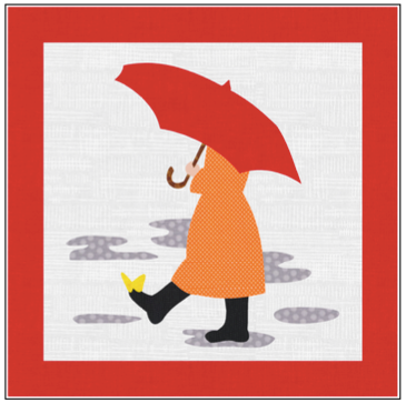 Digital Download: The Girl with the Red Umbrella Monthly Wall Hanging - April - DRH-UAPR