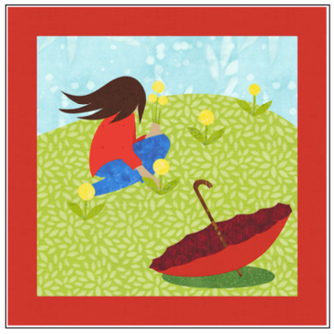 Digital Download: The Girl with the Red Umbrella Monthly Wall Hanging - May - DRH-UMAY