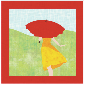 Digital Download: The Girl with the Red Umbrella Monthly Wall Hanging - June - DRH-UJUN