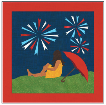 Digital Download: The Girl with the Red Umbrella Monthly Wall Hanging - July - DRH-UJUL